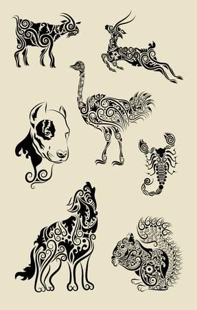 Animal symbols with floral decorative ornament vector Illustration