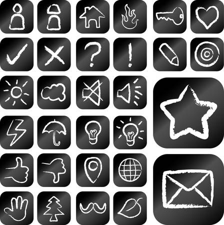 Icons chalk drawing vector set Vector