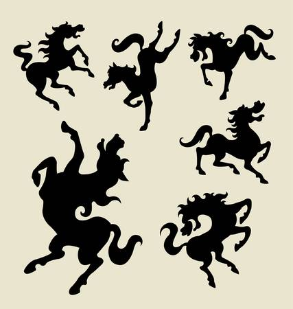Beautiful horse dancing, six movement poses   Vector