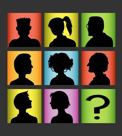 Avatar people silhouettes set vector Vector
