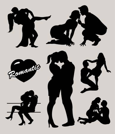 sexo femenino: Silueta romántica pareja de amor ambientada Vectores