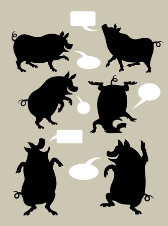 Pig Silhouettes with Speech Bubbles Stock Vector - 17861182