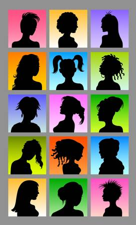 Avatars - Female Character Silhouettes Vector