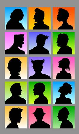Avatars - Male Character Silhouettes Vector