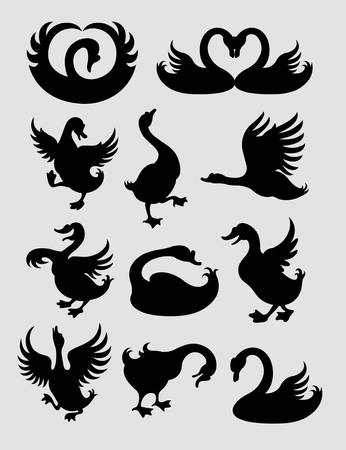 gäss: Duck and Swan Silhouette Symboler Illustration
