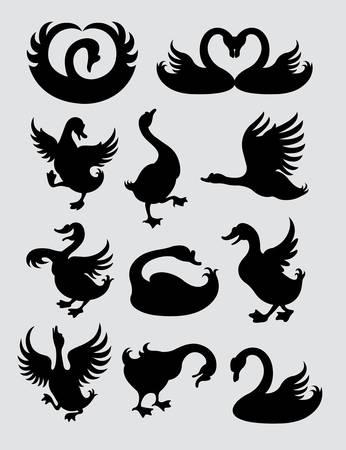 pato: Pato y s�mbolos silueta de cisne