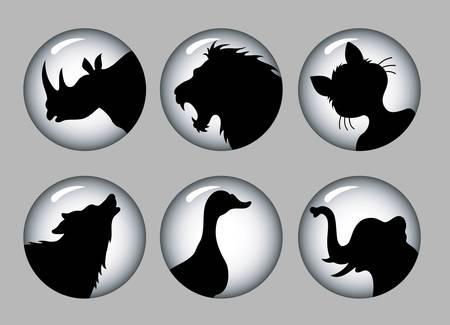 Animal Silhouette Icons black   white 1 Stock Vector - 18772462