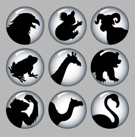 Animal Silhouette Icons Black   White 3 Stock Vector - 18772471