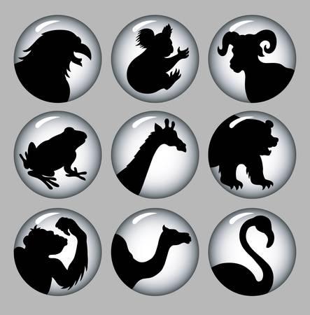 Animal Silhouette Icons Black   White 3 Stock Vector - 18772471