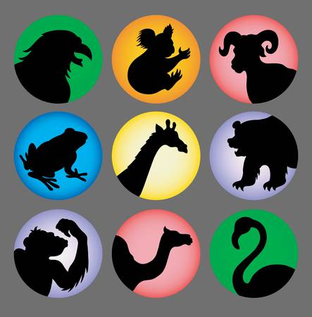 Animal Silhouette Icons color 3 Stock Vector - 18772467