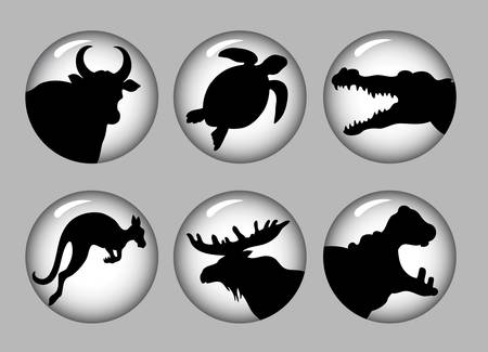 Animal Silhouette Icons black   white 2 Vector