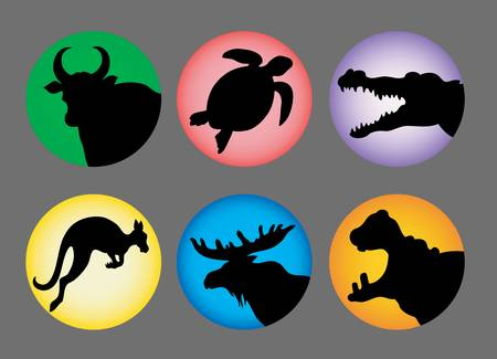 Animal Silhouette Icons color 2 Vector