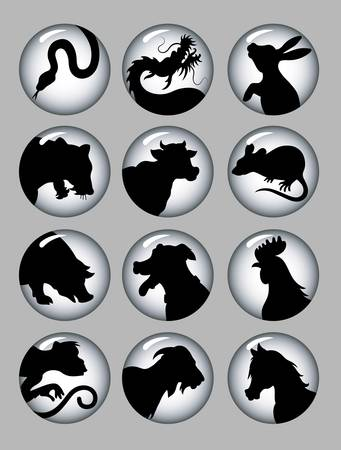 Chinese Zodiac Black   White Icons Vector