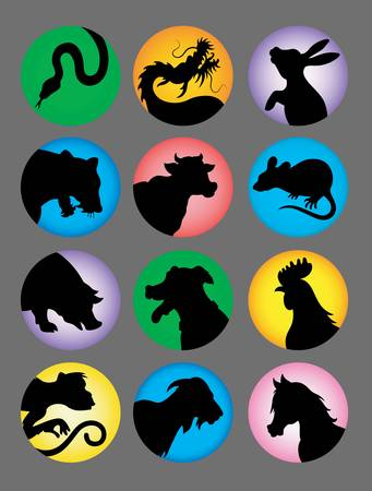 Chinese Zodiac Silhouette Color Vector