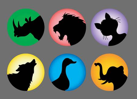 Animal Silhouette Icons Color  Vector