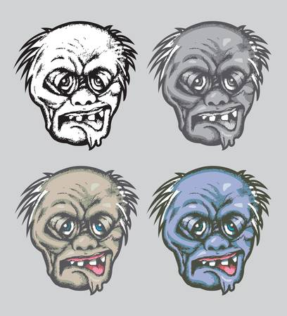 Zombie Face with four alternative colors Vector