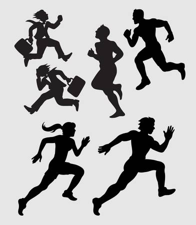 running businessman: Running Silhouettes  Businessman, Athlete Illustration