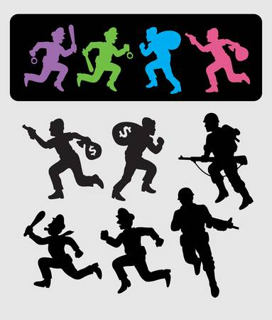 Running Silhouettes  Policeman, Thief, Soldier Vector