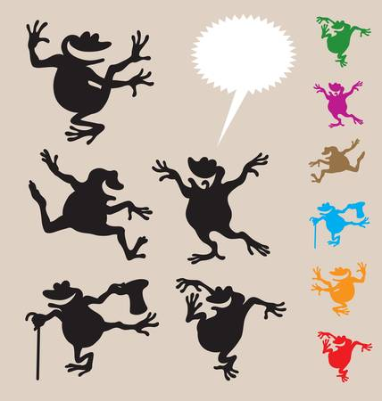 humor jump: Frog Dancing Silhouette 2. Smooth & detail vector Illustration