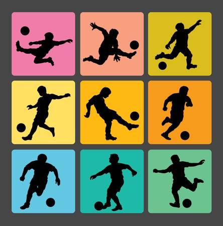 kicking ball: Soccer Boy Silhouettes 1