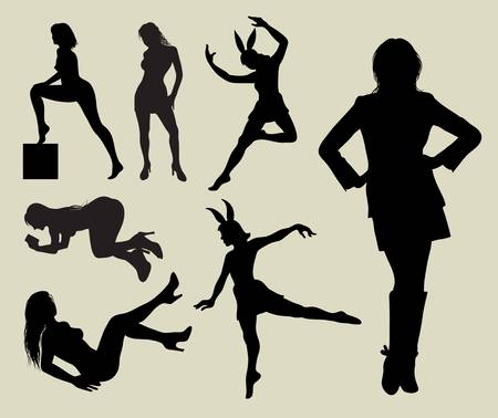 Sexy Girl Silhouettes  Smooth and detail silhouette Easy to edit and change color  Vector