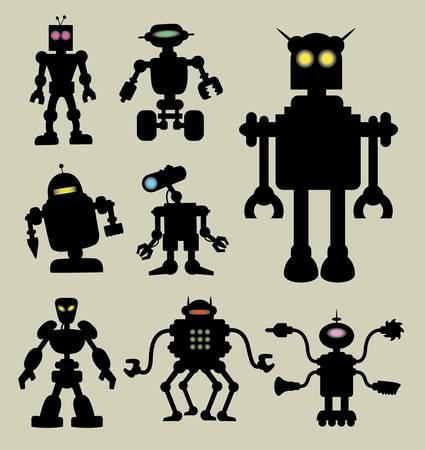 funny robot: Silhouettes de robot avec lampe de couleur. Lisse et silhouette vecteur d�taill�e. Facile � modifier Illustration