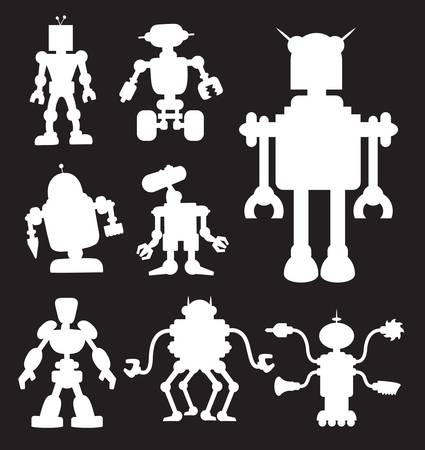 Robot Silhouettes without lamp  Black and white  Smooth and detail silhouette Stock Illustratie