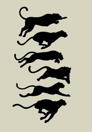 Leopard Running Silhouettes  Ilustrace