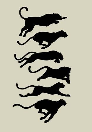 Leopard Running Silhouettes Zdjęcie Seryjne - 19255062