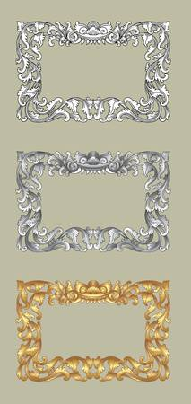 Balinese Ornament Frame 1a  Blank frame with flora ornament decorative on grey background  Vector