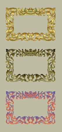 Balinese Ornament Frame 1b  Blank frame with flora ornament decorative on grey background  Vector