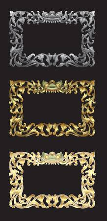 Balinese Ornament Frame 1c Blank frame with floral ornament decoration on black background