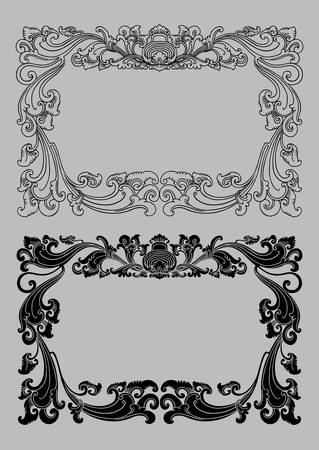 Balinese Ornament Frame 2a  Blank frame with floral ornament decoration   Vector