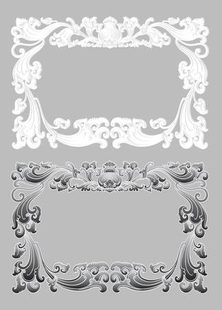 Balinese Ornament Frame 2b  Blank frame with floral ornament decoration  Vector
