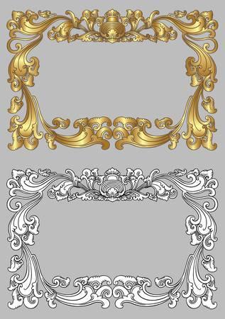 carve: Bali ornamento del marco 2c Marco en blanco con decoraci�n de adornos florales sobre fondo gris Vectores