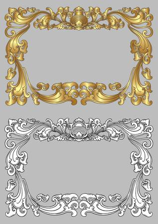 Balinese Ornament Frame 2c  Blank frame with floral ornament decoration on grey background  Vector