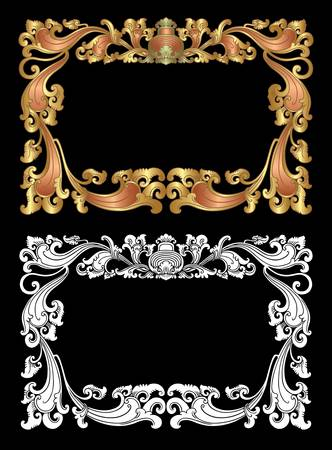 Balinese Ornament Frame 2d  Blank frame with floral ornament decoration on black background  Vector