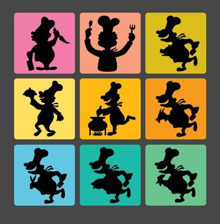Chef Silhouette Symbols 1 Stock Vector - 19255063