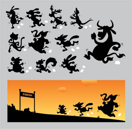 Cartoon Running Silhouettes Vector