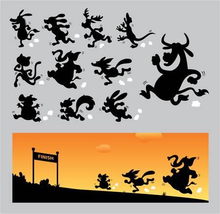 gecko: Cartoon Running Silhouettes