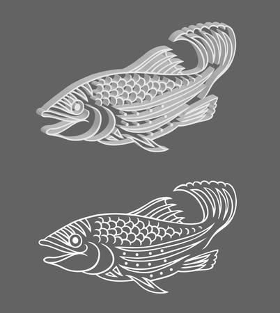 dibujos lineales: Fish 3D Vector Relief Vectores