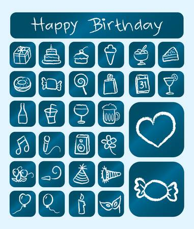 Birthday Icons, Chalk Drawing Style on Blue Background Vector