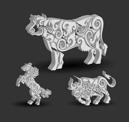 Animal Engraving Ornaments  3d cow, horse, and bull
