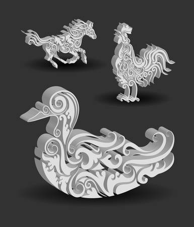 Animal Engraving Ornaments, 3d horse, rooster, and duck Vector