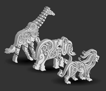 Animal Engraving Ornaments, 3d giraffe, elephant, and lion Vector