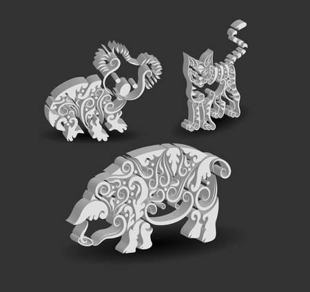 Animal Engraving Ornaments, 3d koala, cat, and pig Vector