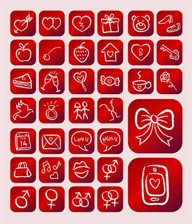 love icons: Love Icons, Chalk Drawing Style on Red Background Illustration