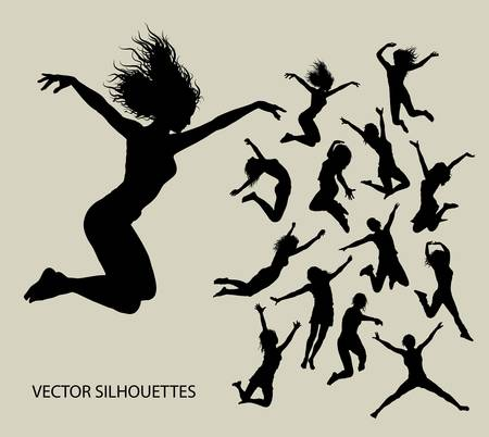 jumps: Girl Jumping Silhouettes Vector  Good use for your symbol, logo, sticker, etc
