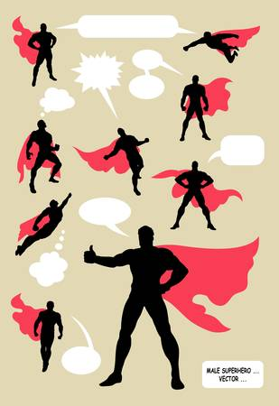 空白のスピーチの泡と男性のスーパー ヒーローのシルエット