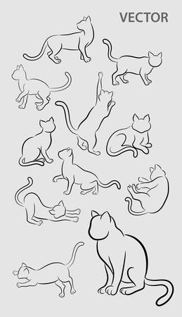 Cat Gesture Sketches with Artistic Brushes Vector